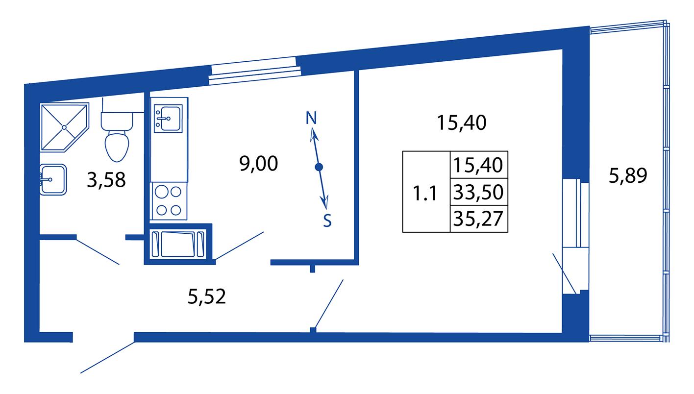 Планировка Однокомнатная квартира площадью 33.5 кв.м в ЖК «ЖК Вернисаж»
