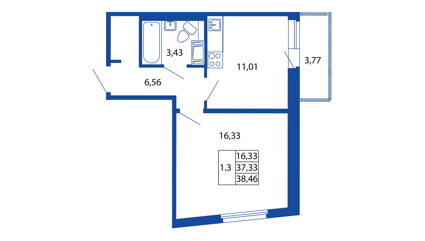 Планировка Однокомнатная квартира площадью 37 кв.м в ЖК «ЖК Вернисаж»