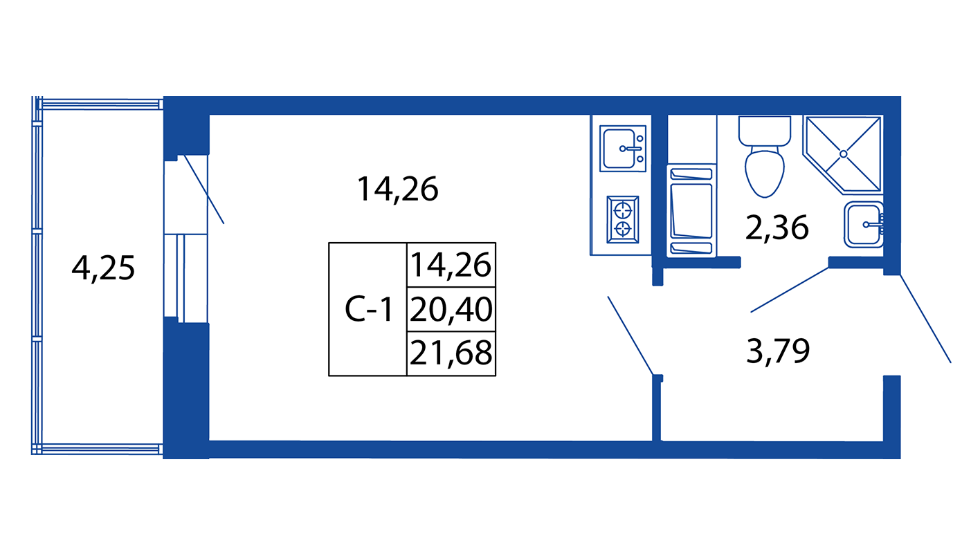 Планировка Студия площадью 20.4 кв.м в ЖК «ЖК Вернисаж»