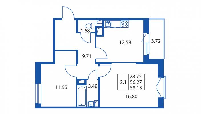 Планировка Двухкомнатная квартира площадью 56 кв.м в ЖК «Вернисаж (руки)»