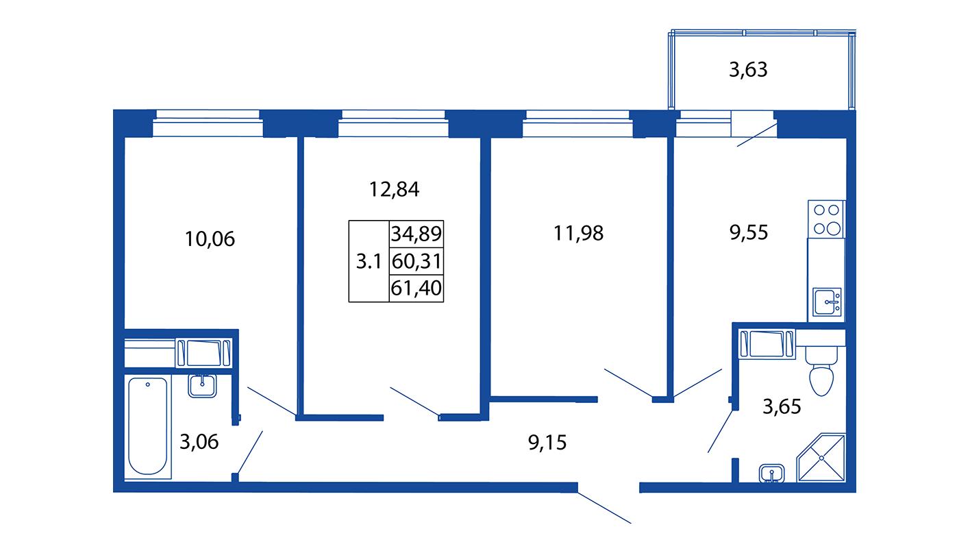 Планировка Трёхкомнатная квартира площадью 60.3 кв.м в ЖК «ЖК Вернисаж»
