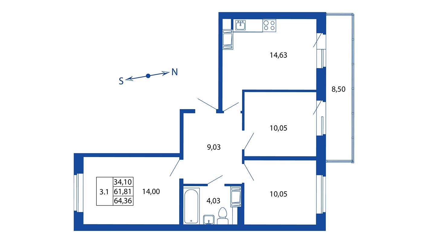 Планировка Четырёхкомнатная квартира площадью 61.8 кв.м в ЖК «ЖК Вернисаж»