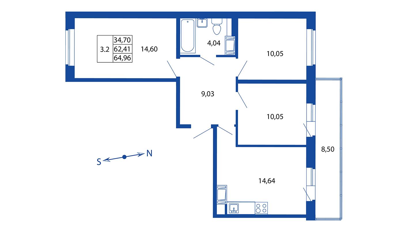 Планировка Четырёхкомнатная квартира площадью 62.4 кв.м в ЖК «ЖК Вернисаж»