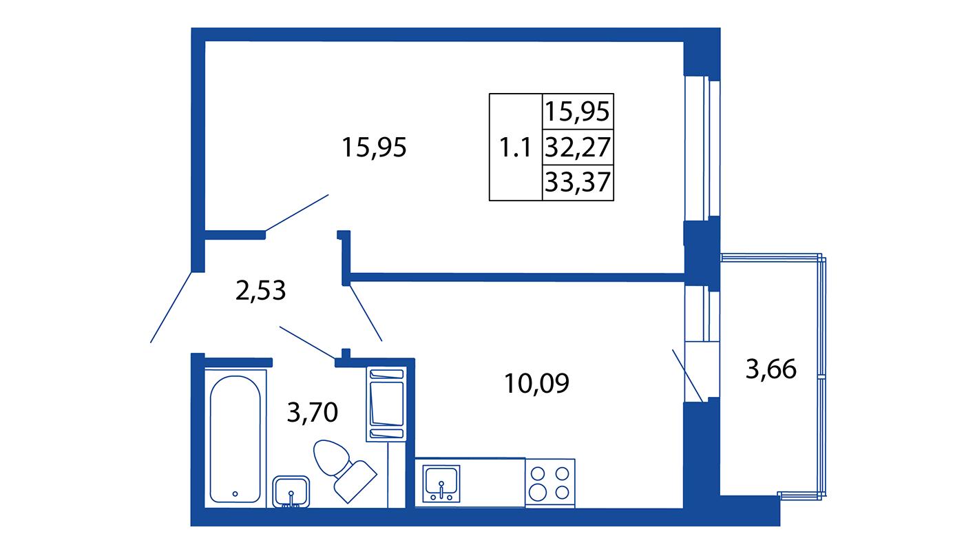 Планировка Однокомнатная квартира площадью 32.3 кв.м в ЖК «ЖК Вернисаж»
