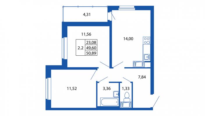 Планировка Двухкомнатная квартира площадью 49 кв.м в ЖК «Вернисаж (руки)»