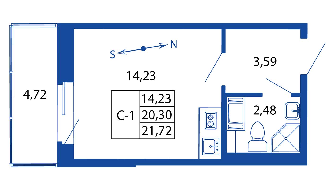 Планировка Студия площадью 20.3 кв.м в ЖК «ЖК Вернисаж»