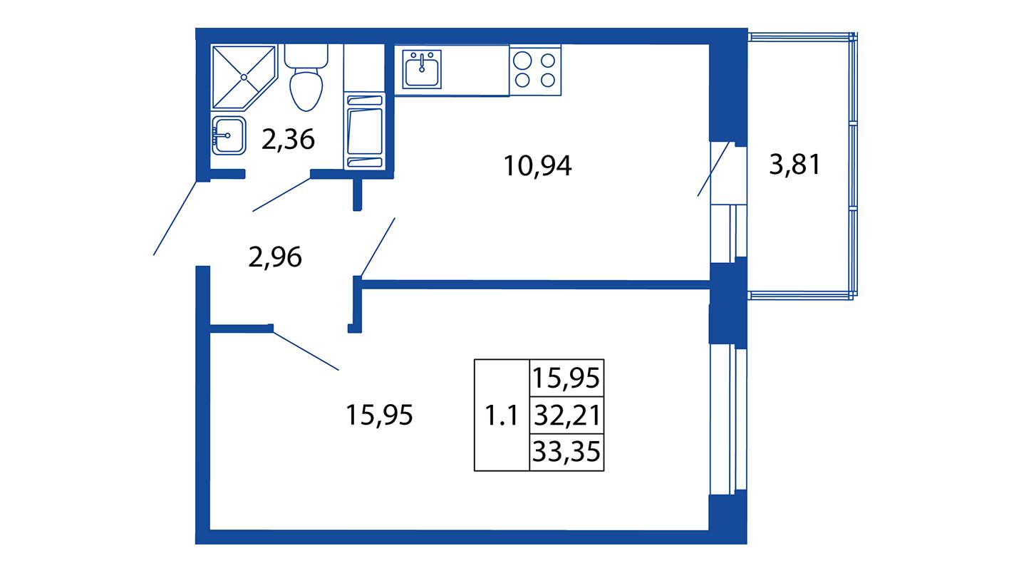 Планировка Однокомнатная квартира площадью 32.2 кв.м в ЖК «ЖК Вернисаж»