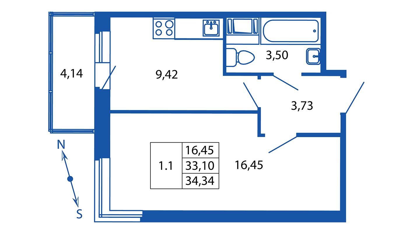Планировка Однокомнатная квартира площадью 33.1 кв.м в ЖК «ЖК Вернисаж»